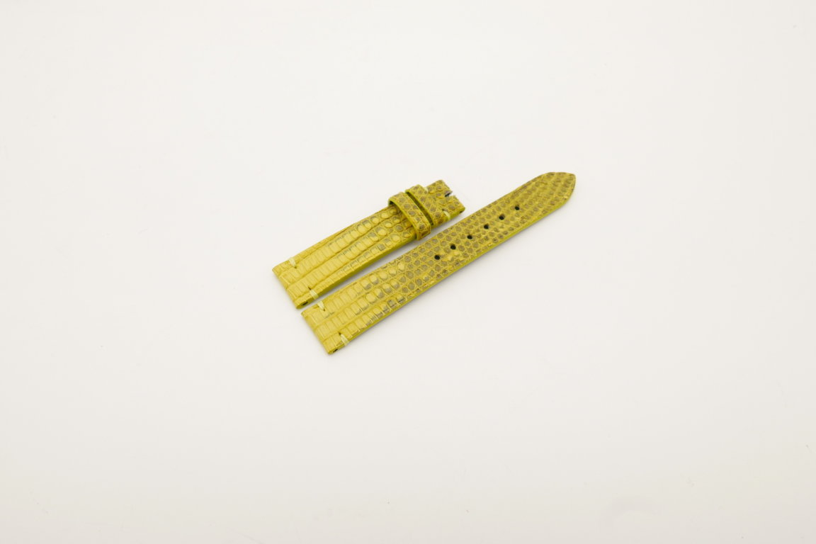 18mm/16mm Yellow Genuine Lizard Skin Leather Watch Strap #WT4034