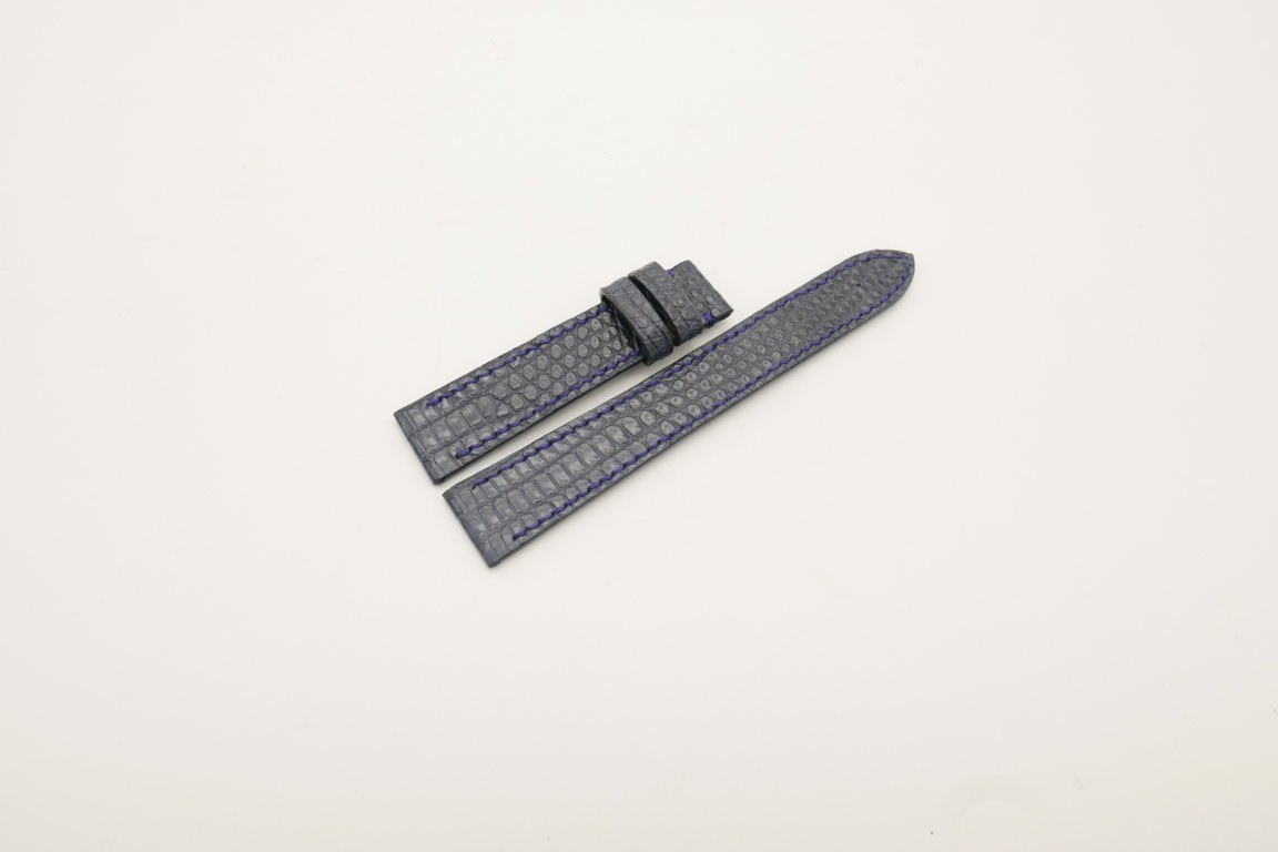 18mm/16mm Dark Navy Blue Genuine Lizard Skin Leather Watch Strap #WT4043