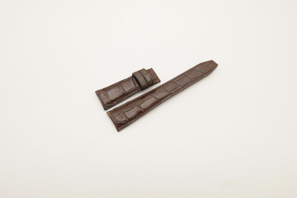 22mm/18mm Brown Genuine Crocodile Skin Leather Deployment Strap for IWC #WT4050