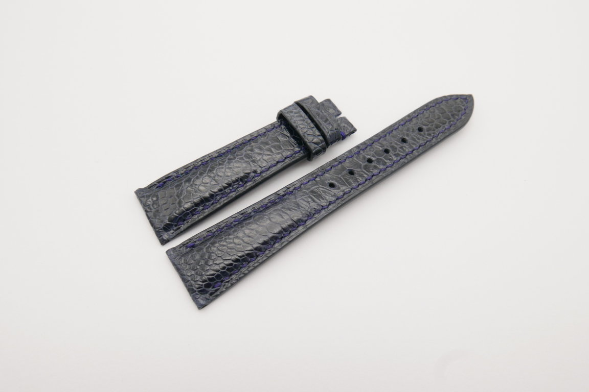 20mm/16mm Dark Navy Blue Genuine Ostrich Skin Leather Watch Strap#WT4071