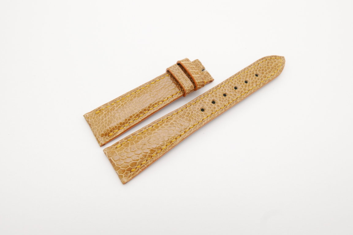 20mm/16mm Tan Brown Genuine Ostrich Skin Leather Watch Strap#WT4073