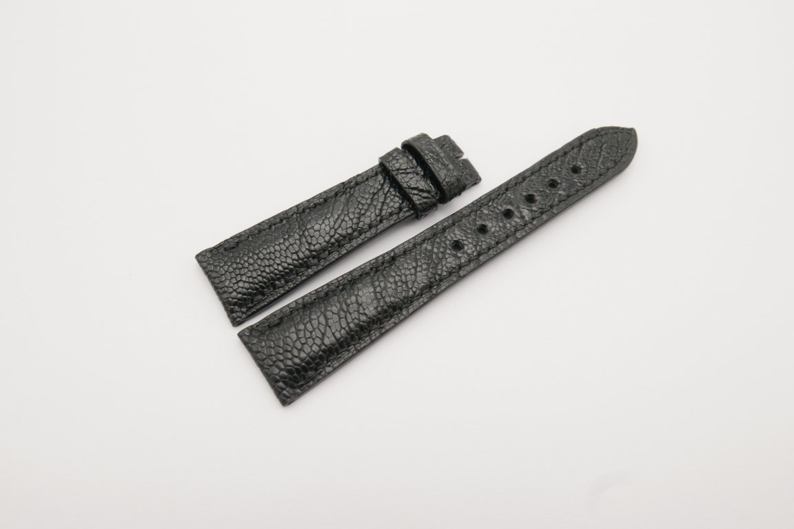 20mm/16mm Black Genuine Ostrich Skin Leather Watch Strap#WT4076