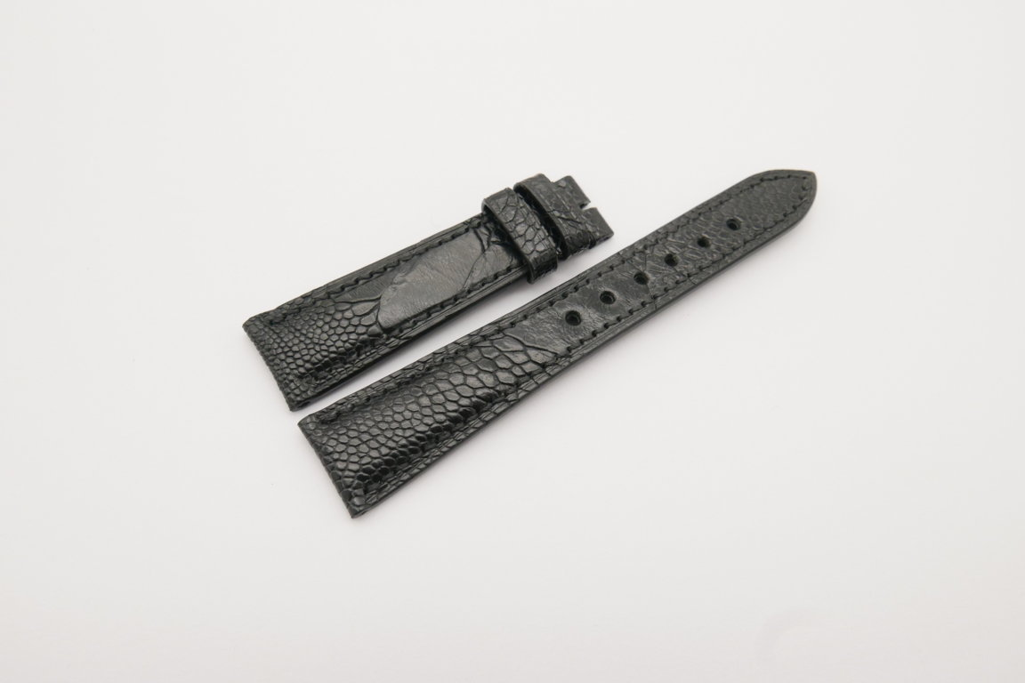 20mm/16mm Black Genuine Ostrich Skin Leather Watch Strap#WT4077