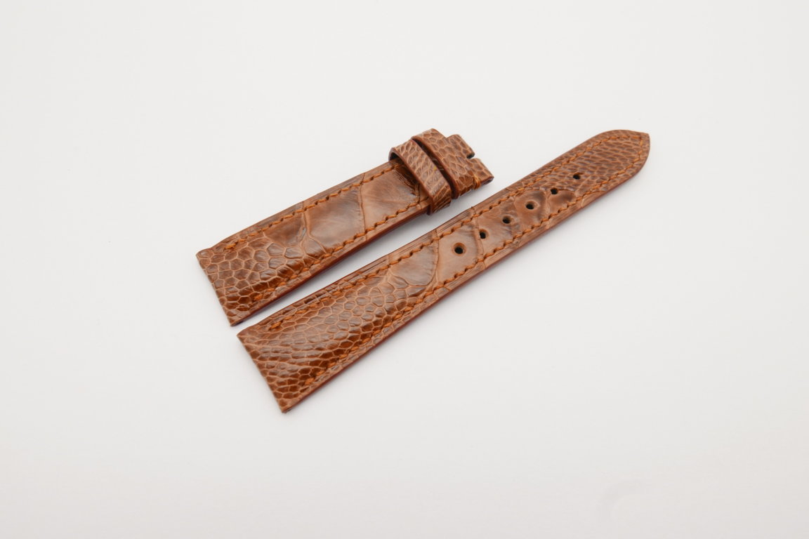 20mm/16mm Red Brown Genuine Ostrich Skin Leather Watch Strap#WT4079