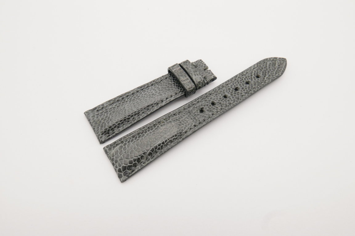 20mm/16mm Gray Genuine Ostrich Skin Leather Watch Strap#WT4083