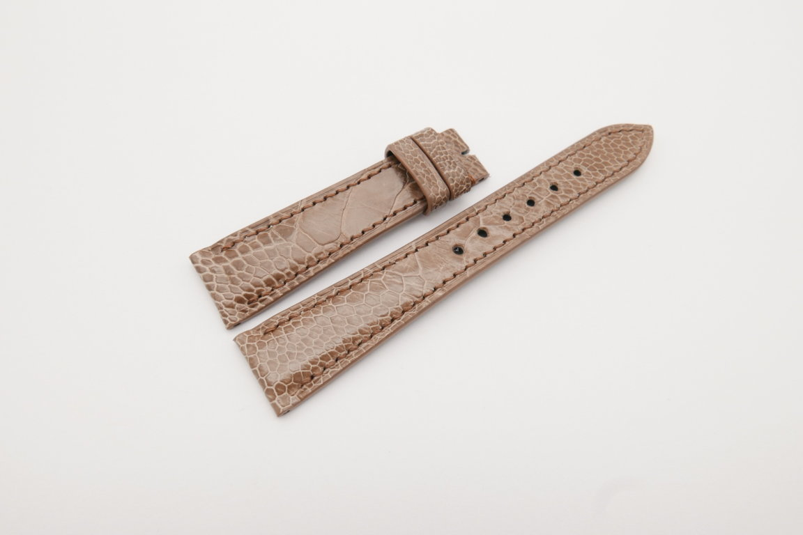 20mm/16mm Light Brown Genuine Ostrich Skin Leather Watch Strap#WT4085