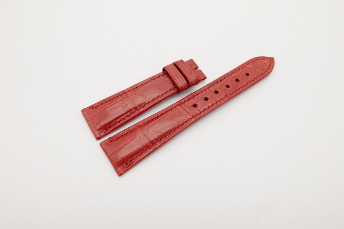 20mm/16mm Red Genuine Crocodile Skin Leather Watch Strap#WT4109
