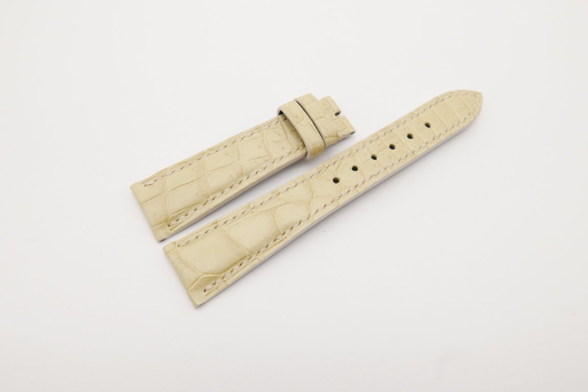 20mm/16mm Cream Genuine Crocodile Skin Leather Watch Strap#WT4119