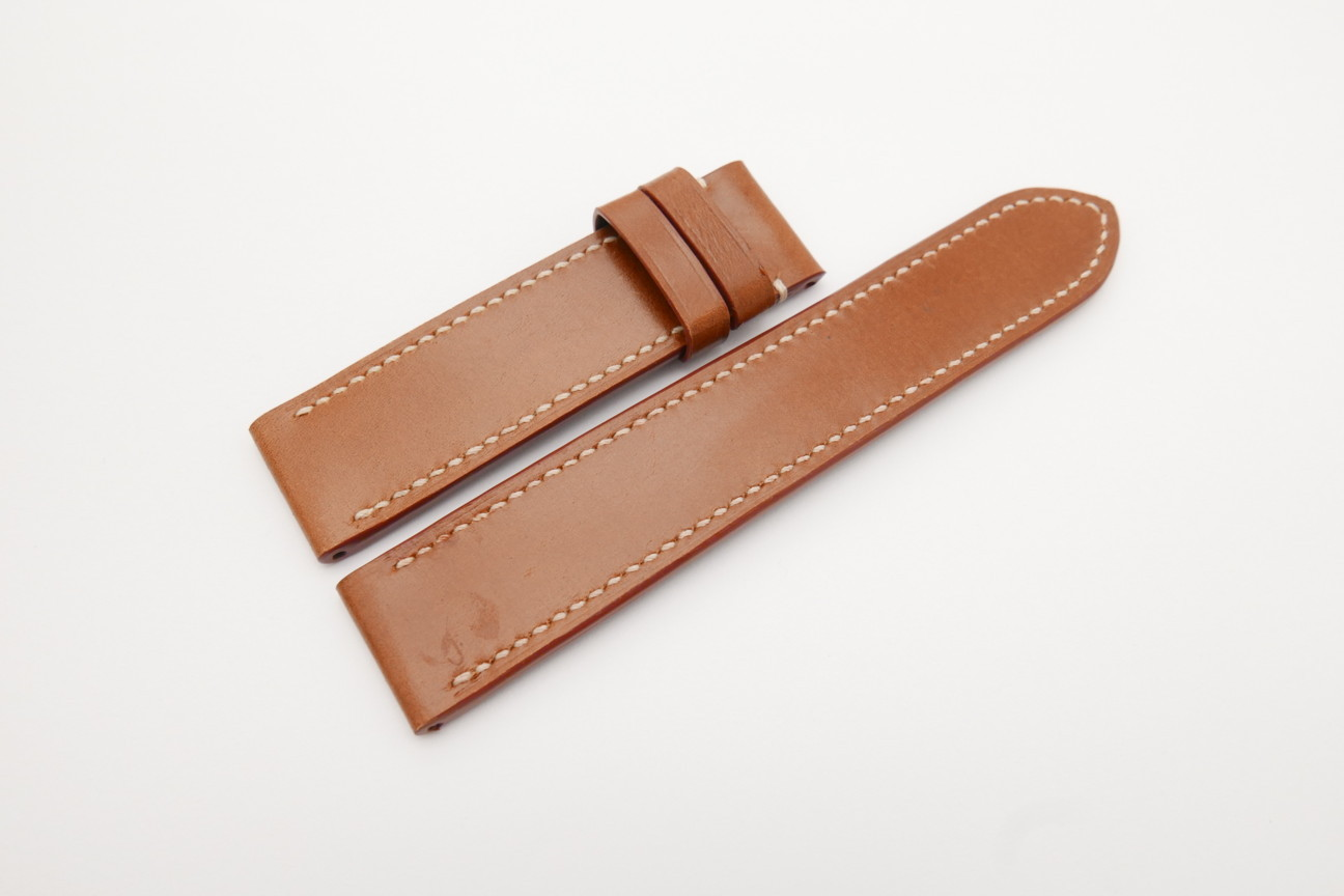 24mm/24mm Cognac Genuine Italian Calf Skin Leather Watch Strap For Panerai 140mm/90mm #WT4122