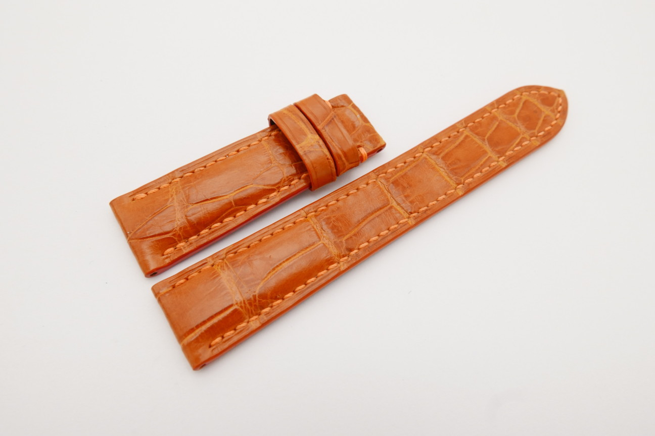 20mm/18mm Orange Genuine Crocodile Skin Leather Watch Strap 120/65mm #WT4136