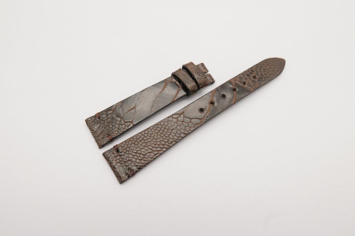 18mm/14mm Dark Brown Genuine OSTRICH Skin Leather Watch Strap Band #WT4147