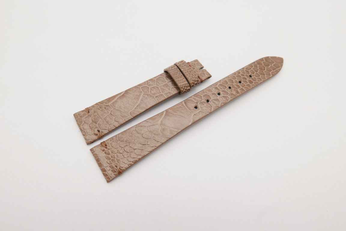 18mm/14mm Light Brown Genuine OSTRICH Skin Leather Watch Strap Band #WT4149