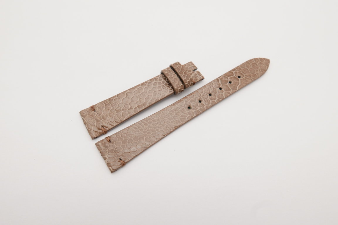 18mm/14mm Light Brown Genuine OSTRICH Skin Leather Watch Strap Band #WT4150