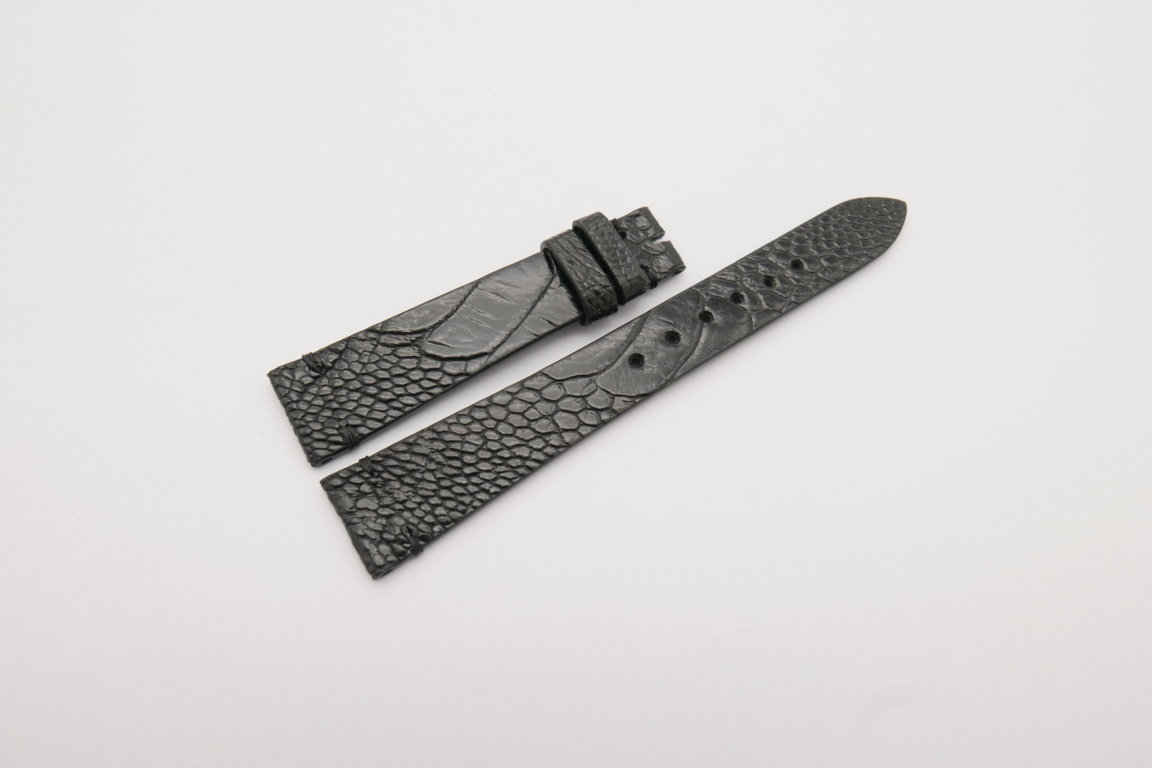 18mm/14mm Black Genuine OSTRICH Skin Leather Watch Strap Band #WT4153