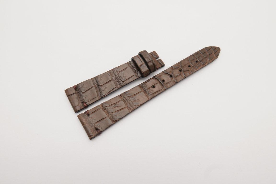 18mm/14mm Dark Brown Genuine CROCODILE Skin Leather Watch Strap Band #WT4159
