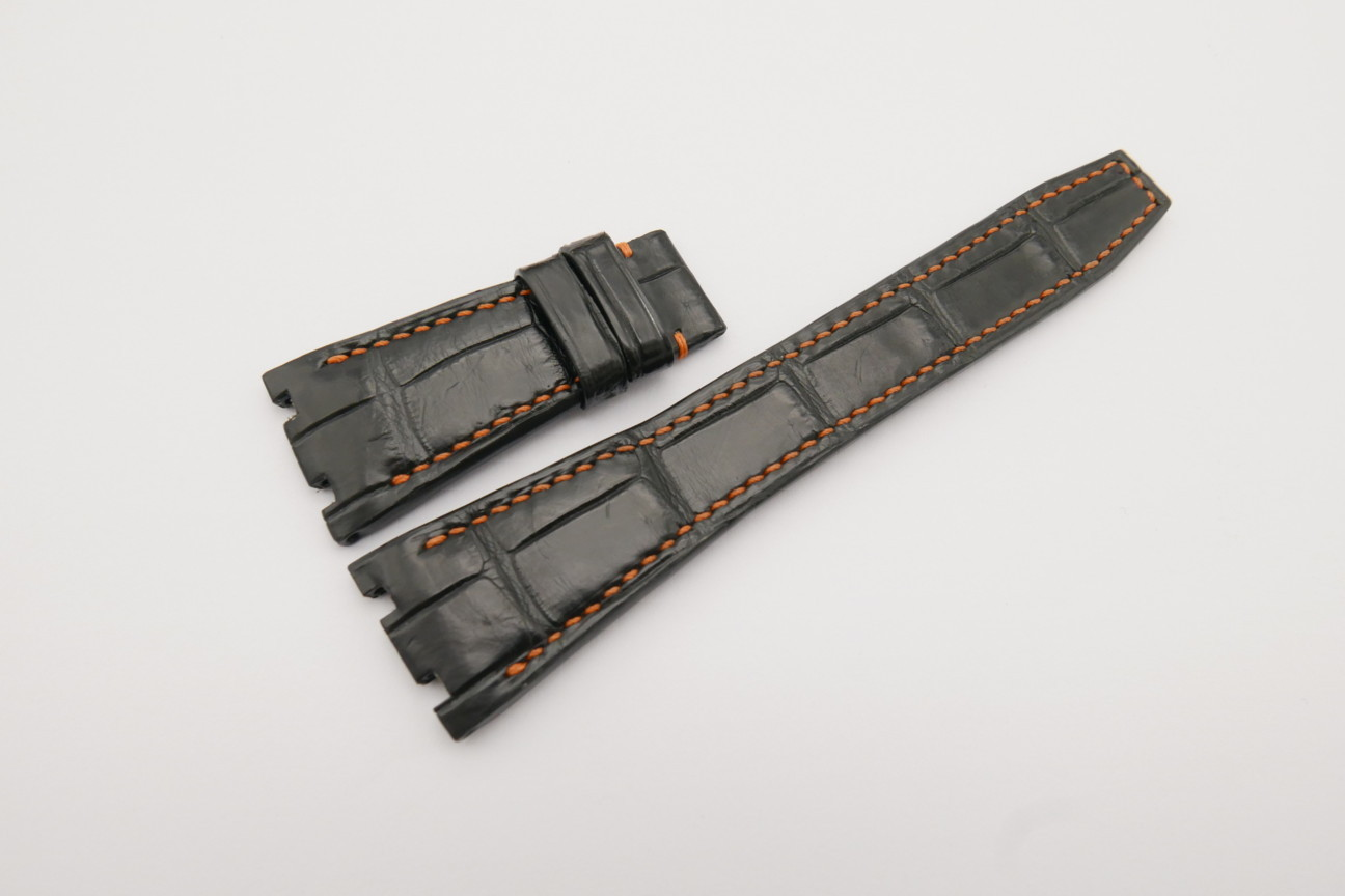 26mm/18mm Black Genuine CROCODILE Skin Leather Watch Strap for Audemars Piguet 39mm & 41mm #WT4221