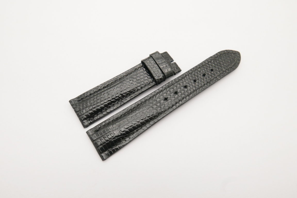 20mm/18mm Black Genuine Lizard Skin Leather Watch Strap #WT4179