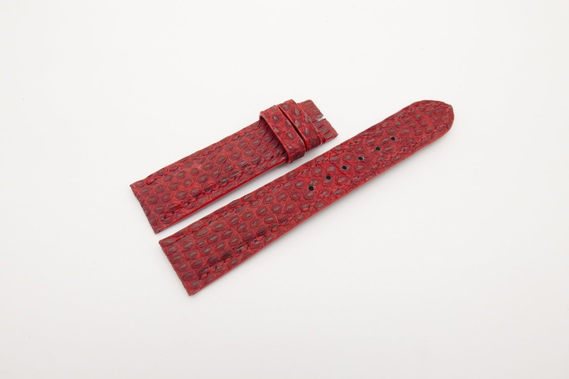 20mm/18mm Red Genuine Lizard Skin Leather Watch Strap #WT4205