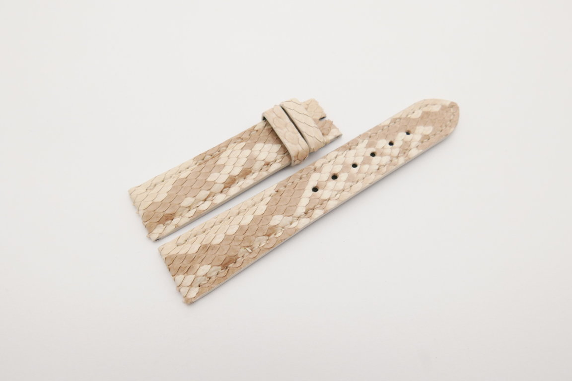 20mm/18mm Beige Genuine Python Skin Leather Watch Strap #WT4217