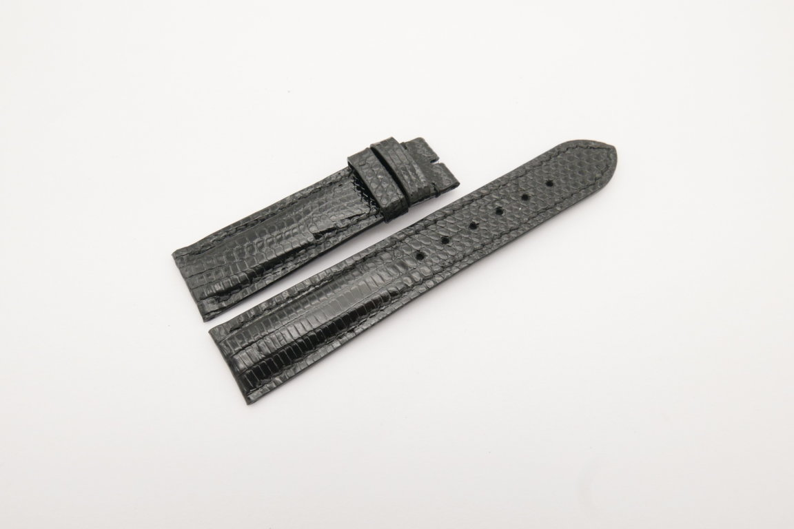 20mm/18mm Black Genuine Lizard Skin Leather Watch Strap #WT4244