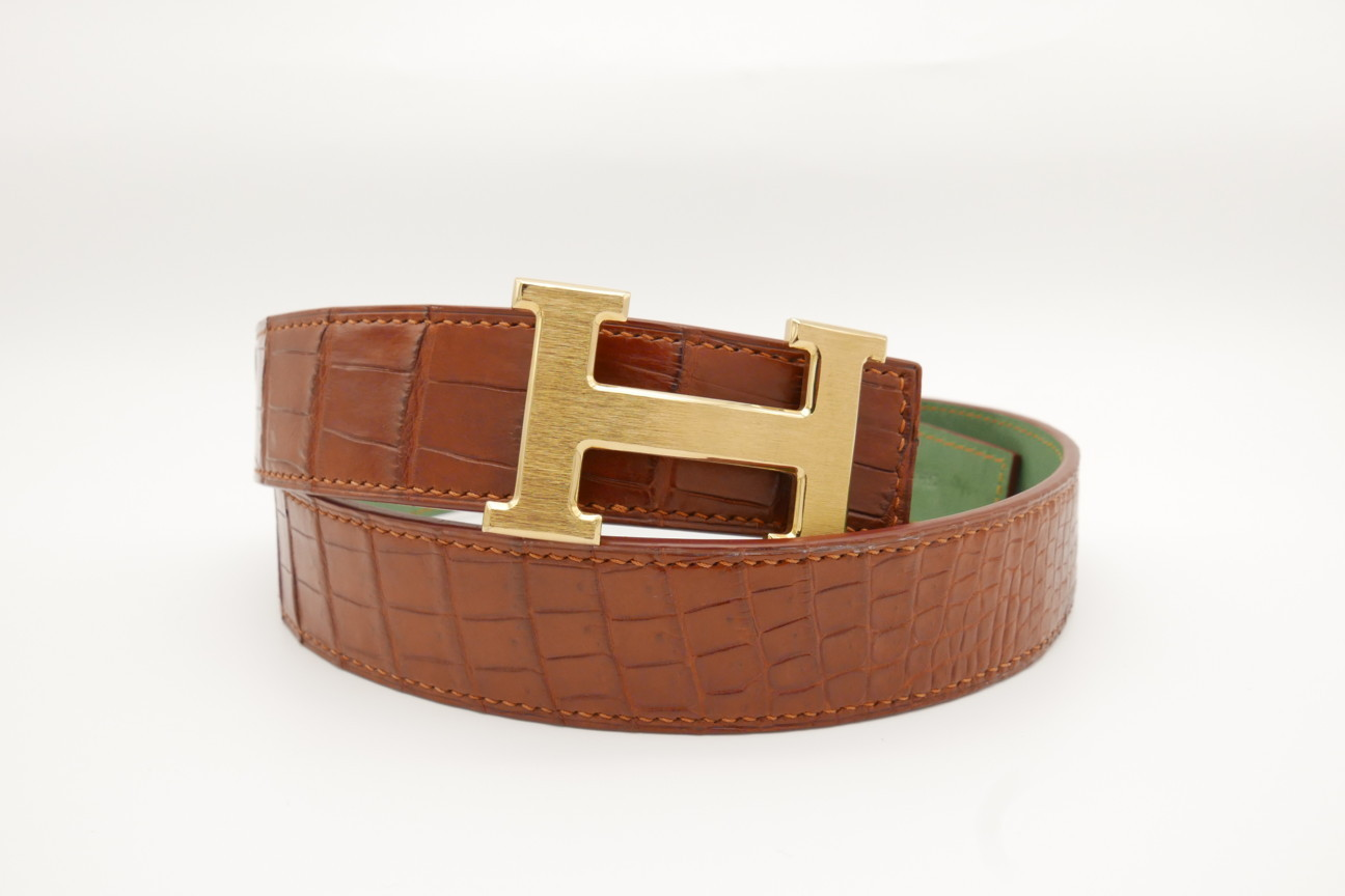 Red Brown Genuine Crocodile Skin Leather Belt 114cm #CB001