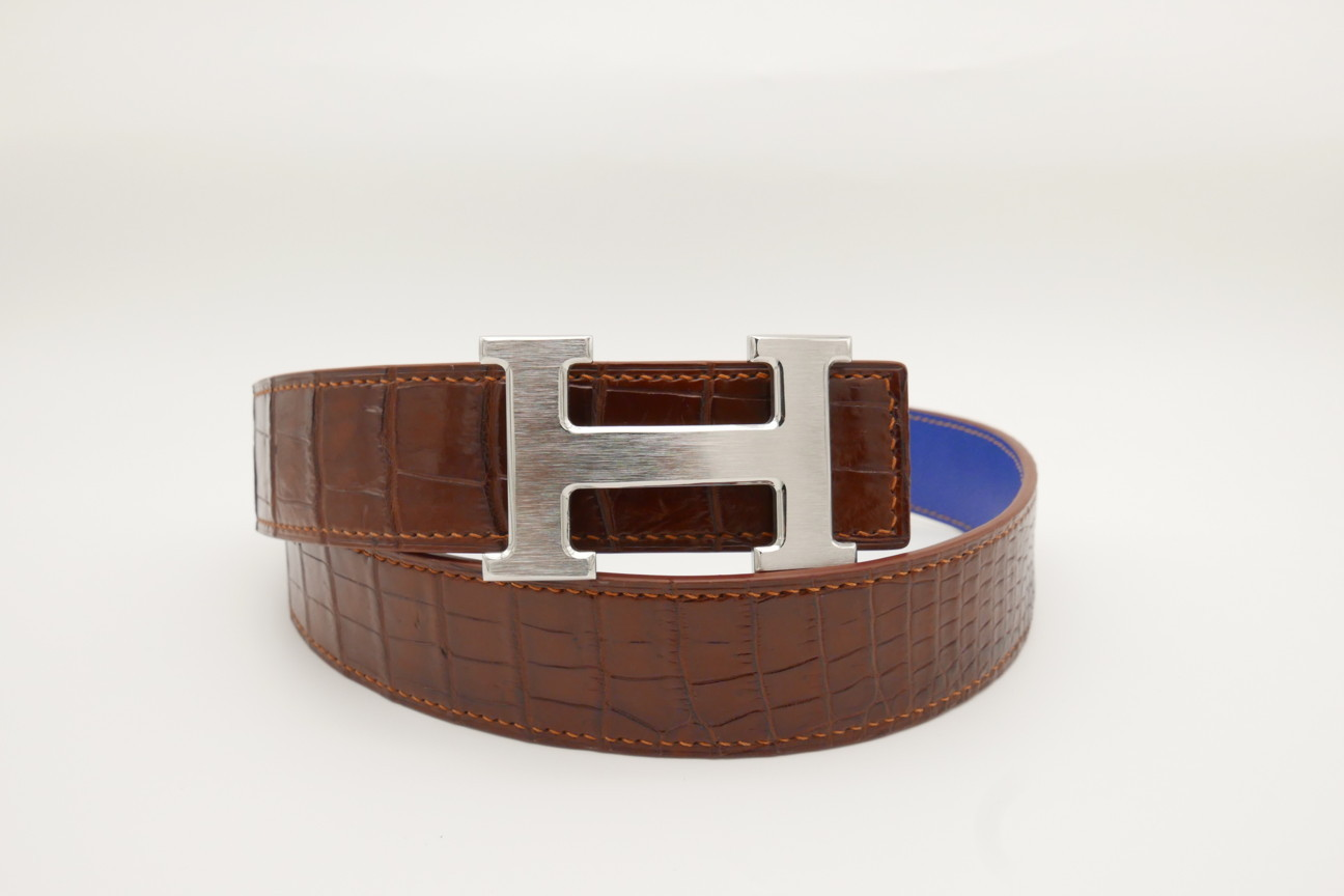 Red Brown Genuine Crocodile Skin Leather Belt 109cm #CB002
