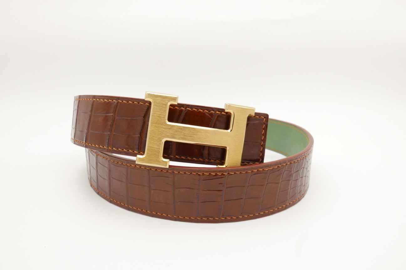 Red Brown Genuine Crocodile Skin Leather Belt 108cm #CB003