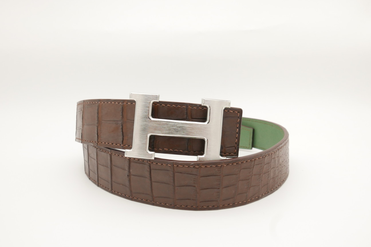 Dark Brown Genuine Crocodile Skin Leather Belt 118cm #CB004
