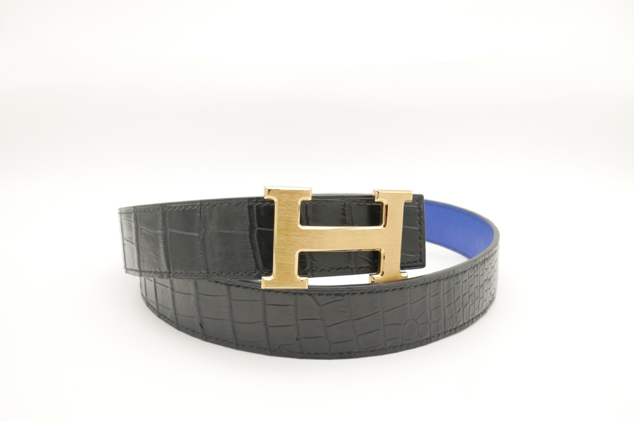 Black Genuine Crocodile Skin Leather Belt 121cm #CB005