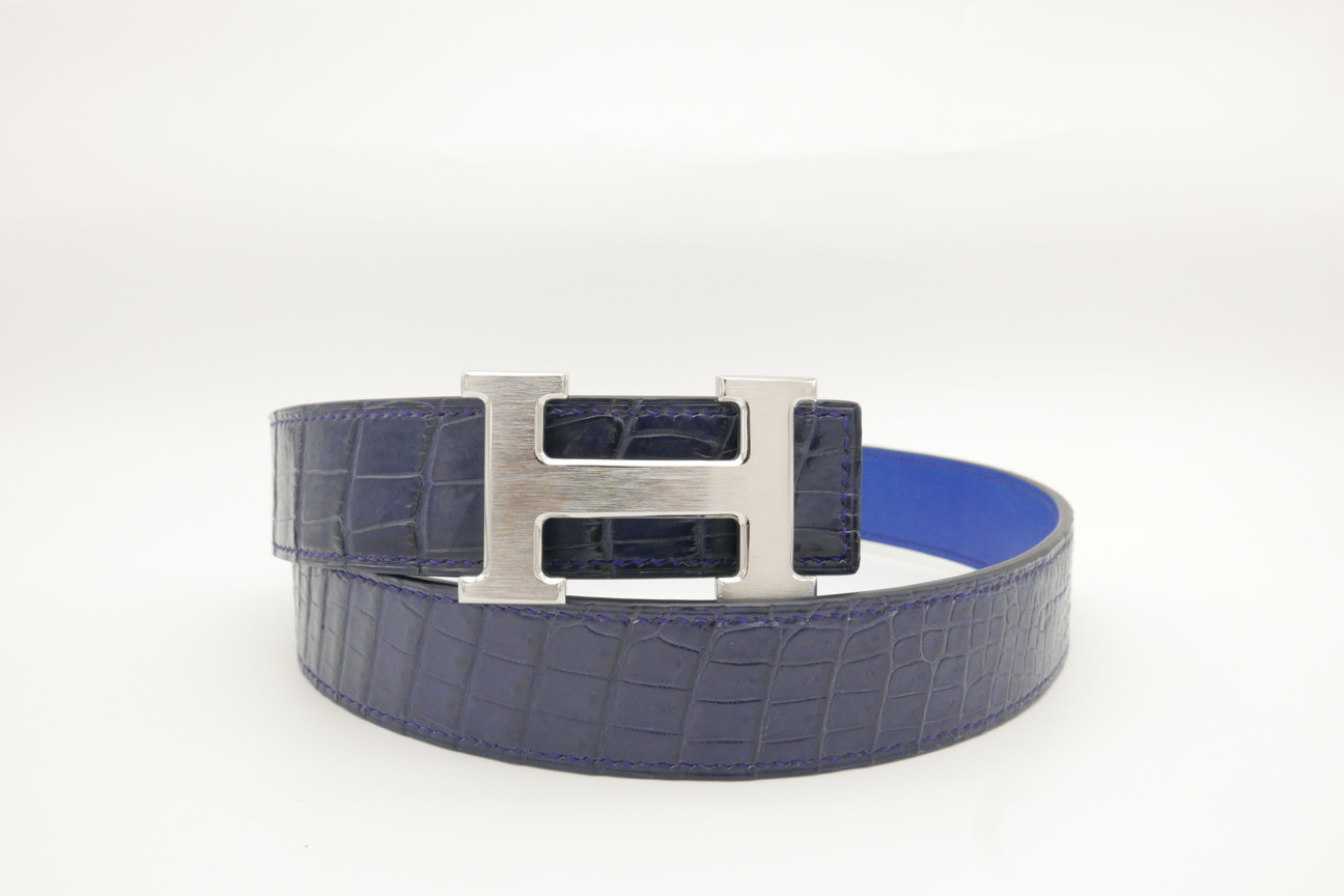 Navy Blue Genuine Crocodile Skin Leather Belt 111cm #CB006