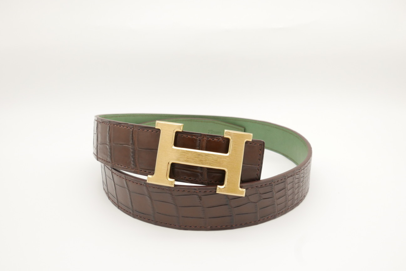 Dark Brown Genuine Crocodile Skin Leather Belt 116cm #CB007