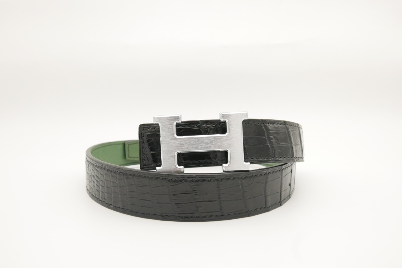 Black Genuine Crocodile Skin Leather Belt 102cm #CB008