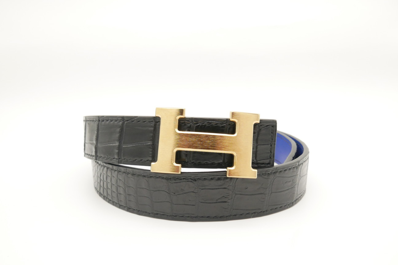Black Genuine Crocodile Skin Leather Belt 111cm #CB009