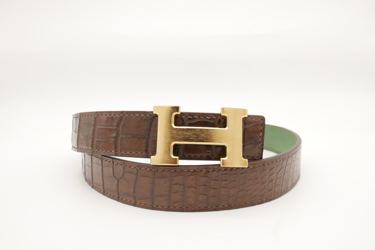 Brown Genuine Crocodile Skin Leather Belt 107cm #CB011