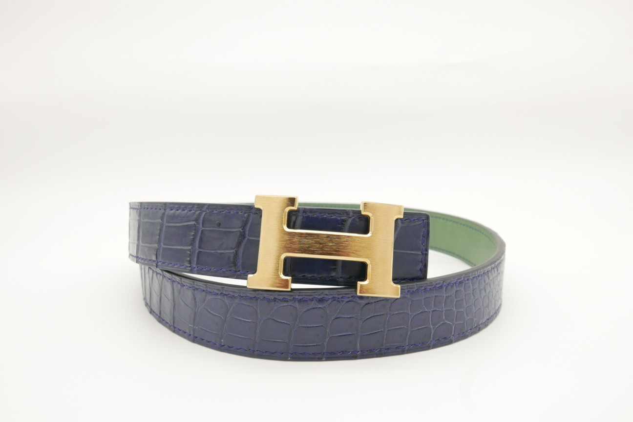 Navy Blue Genuine Crocodile Skin Leather Belt 105cm #CB012
