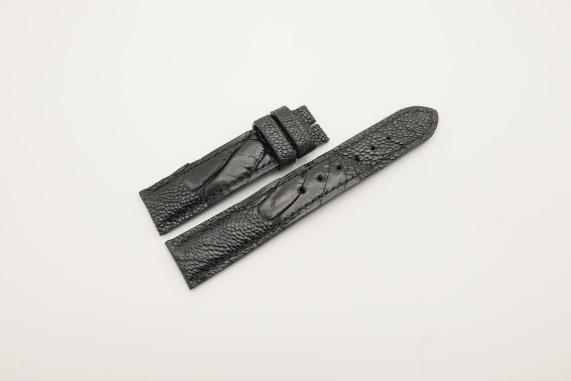 19mm/18mm Black Genuine OSTRICH Skin Leather Watch Strap #WT4272