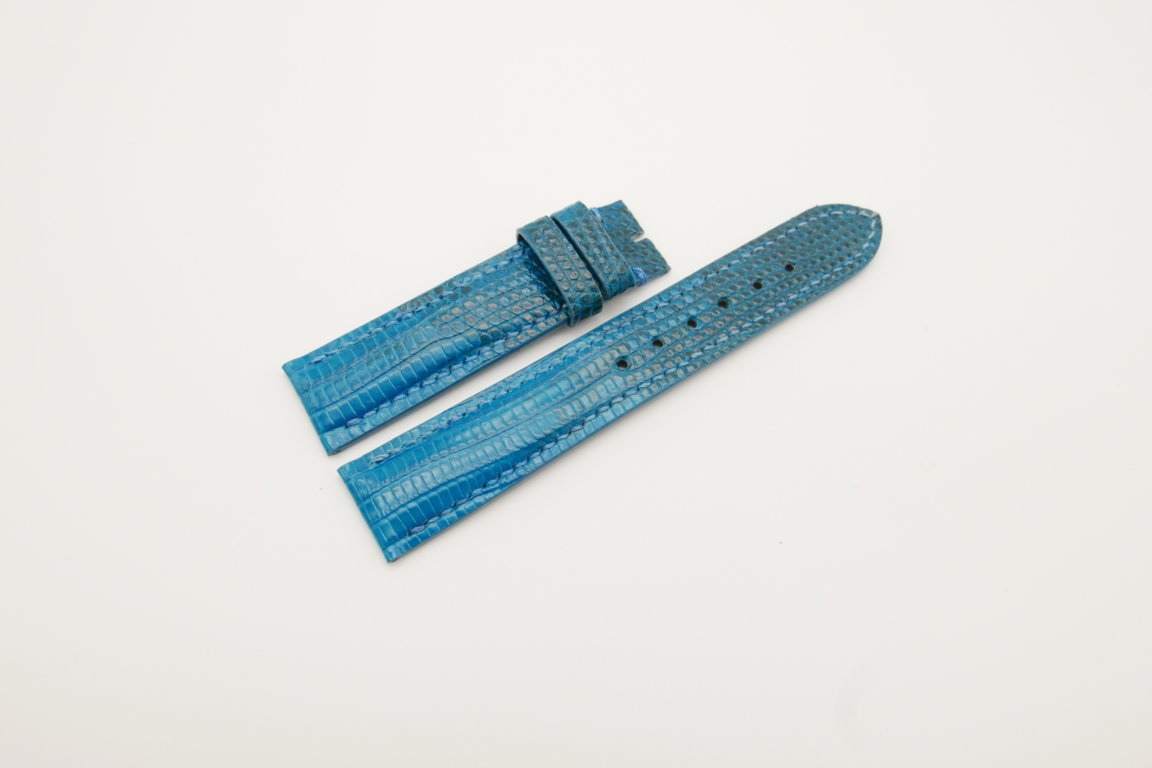 19mm/18mm Light Blue Genuine LIZARD Skin Leather Watch Strap #WT4276