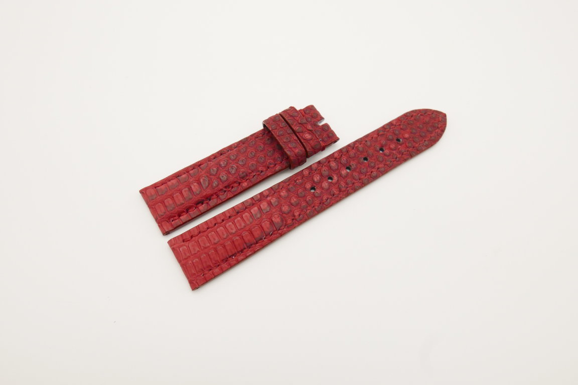 19mm/18mm Red Genuine LIZARD Skin Leather Watch Strap #WT4277