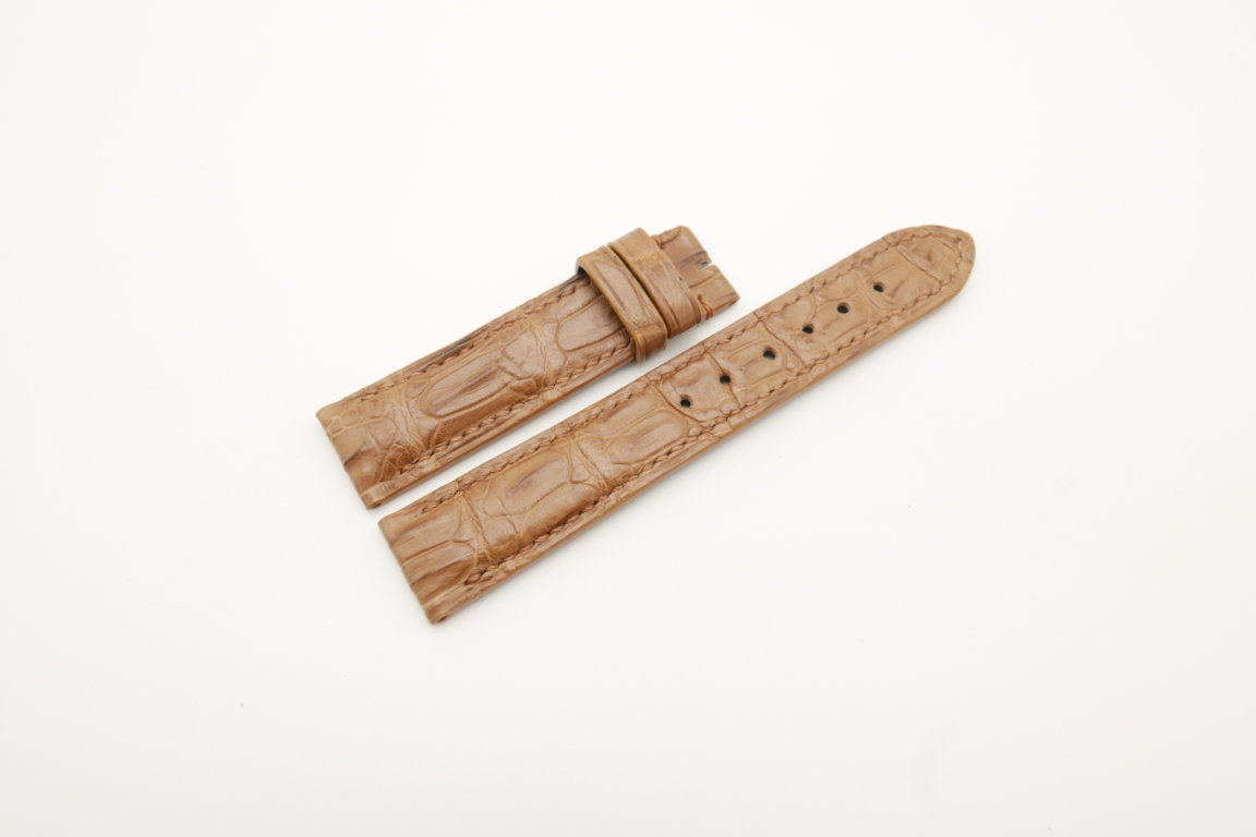 19mm/18mm Coffee Genuine Crocodile Skin Leather Watch Strap #WT4279