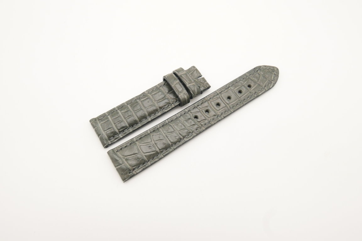 19mm/18mm Gray Genuine Crocodile Skin Leather Watch Strap #WT4281
