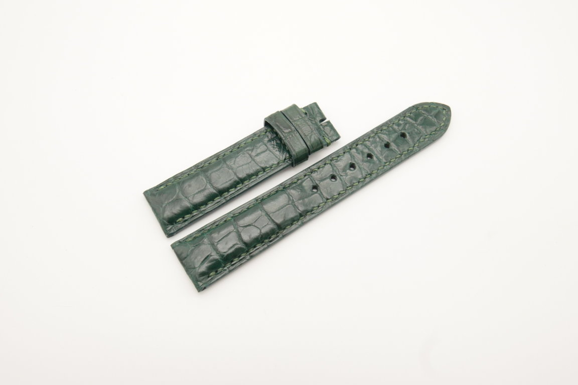 19mm/18mm Green Genuine Crocodile Skin Leather Watch Strap #WT4283