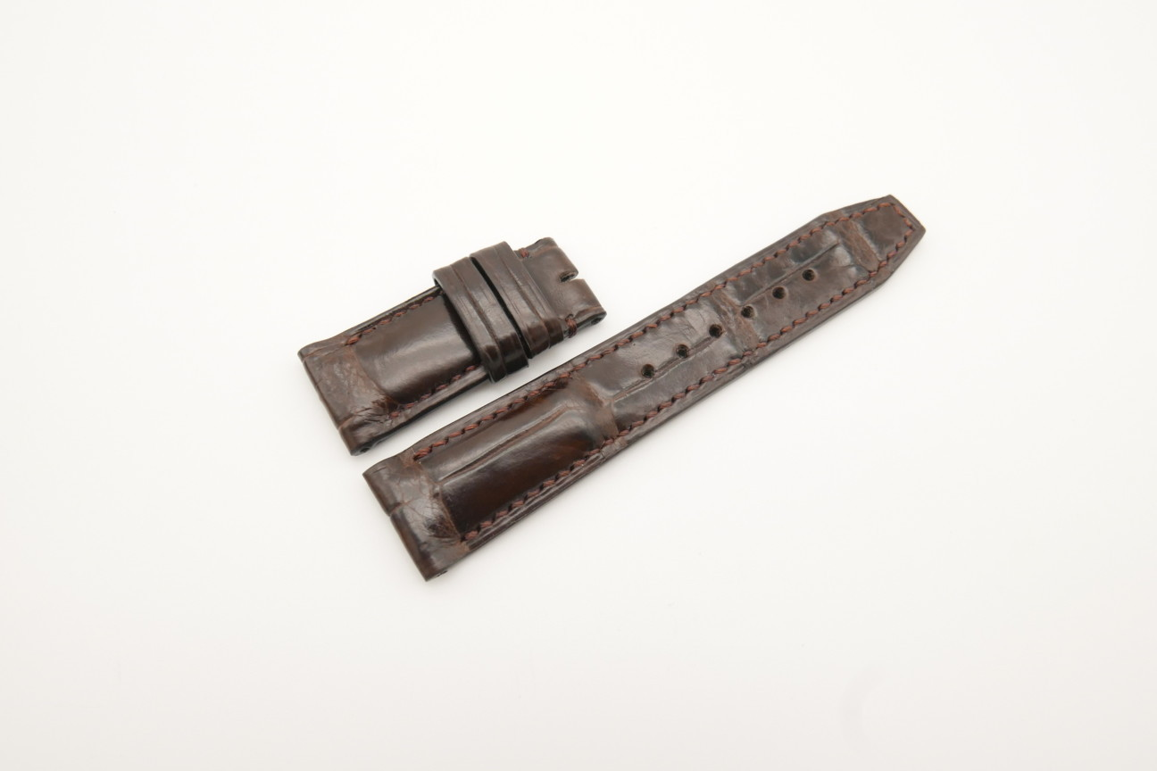 20mm/18mm Dark Brown Genuine CROCODILE Skin Leather Deployment Strap For IWC 120/75mm #WT4314