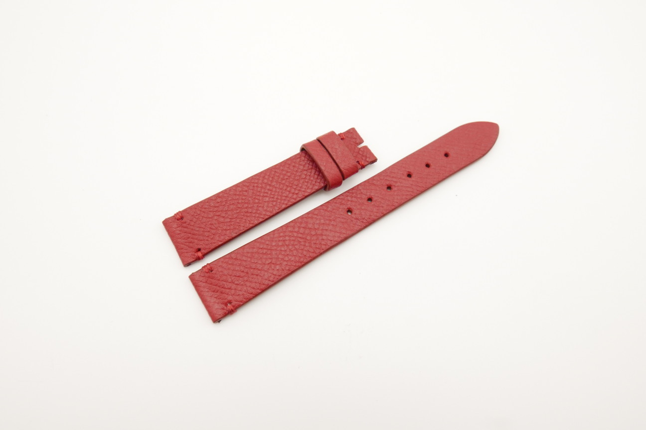 16mm/14mm Red Genuine EPSOM CALF Skin Leather Watch Strap #WT4292