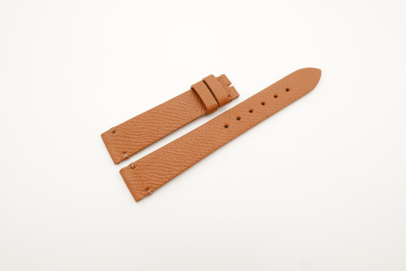 16mm/14mm Honey Brown Genuine EPSOM CALF Skin Leather Watch Strap #WT4295