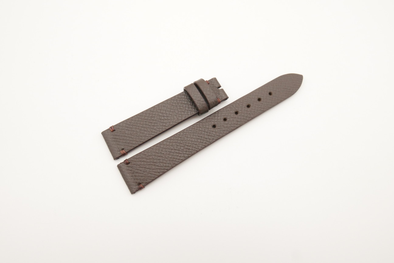 16mm/14mm Dark Brown Genuine EPSOM CALF Skin Leather Watch Strap #WT4297