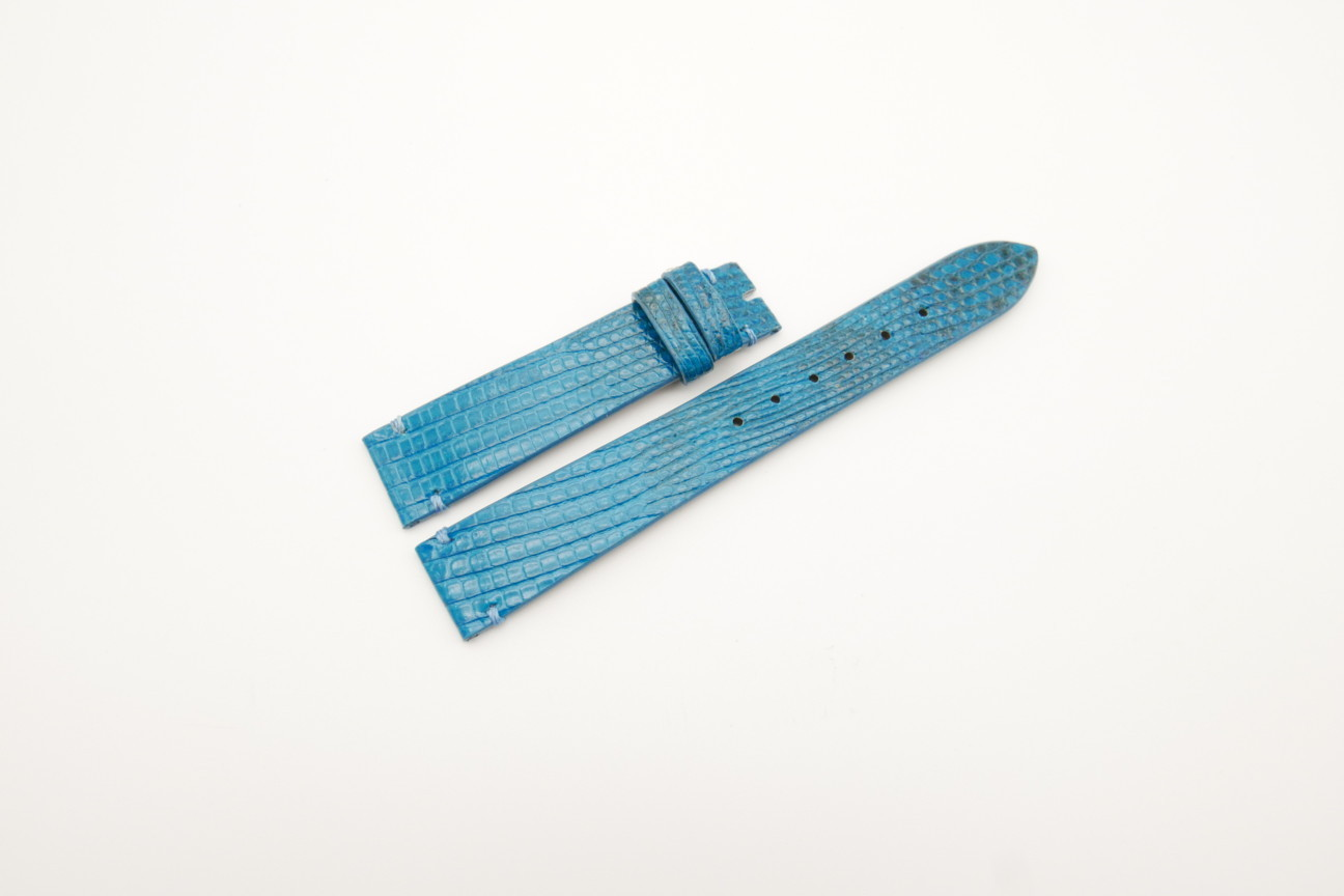 16mm/14mm Light Blue Genuine LIZARD Skin Leather Watch Strap #WT4299