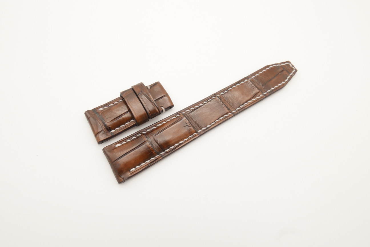 20mm/18mm Brown Genuine ALLIGATOR Skin Leather Deployment Strap For IWC 125/45mm #WT4348