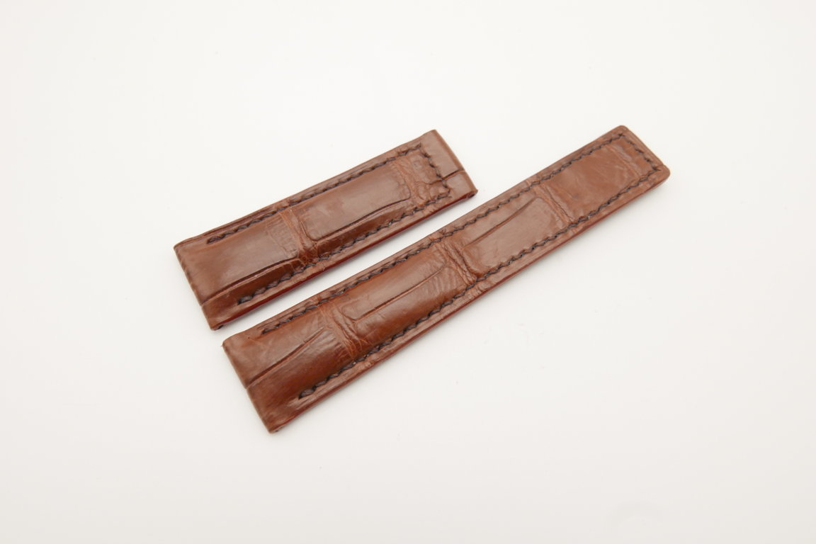 20mm/18mm Red Brown Genuine CROCODILE Skin Leather Deployment Strap For Tag Heuer #WT4377