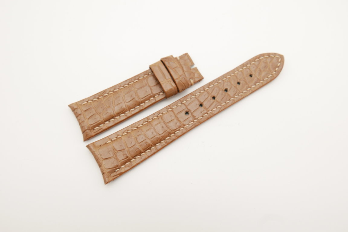 21mm/18mm Coffee Genuine CROCODILE Skin Leather Curved End Watch Strap For JLC #WT4351