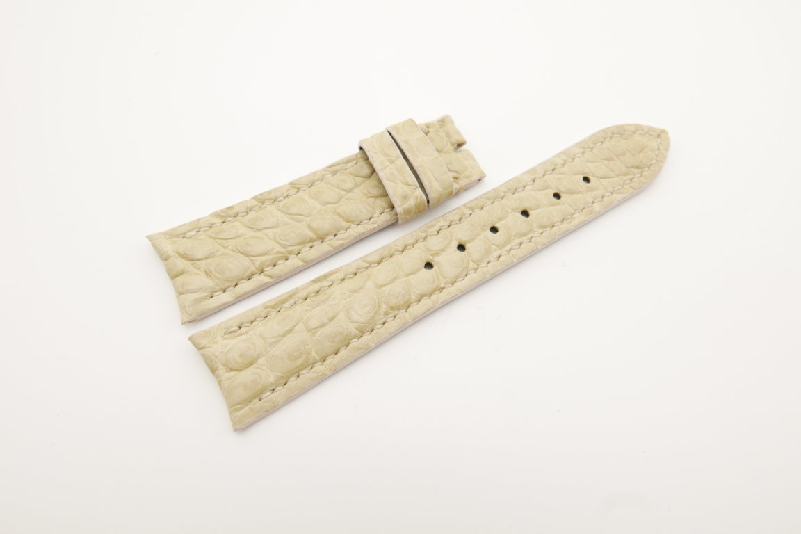 21mm/18mm Cream Genuine CROCODILE Skin Leather Curved End Watch Strap For JLC #WT4358